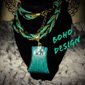 Bohemian Rhinestone Geometric Gem Pendent Necklace